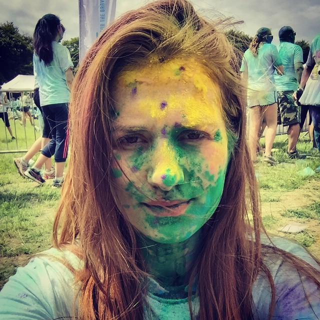 A green and yellow monster doing the colour run colourhellip